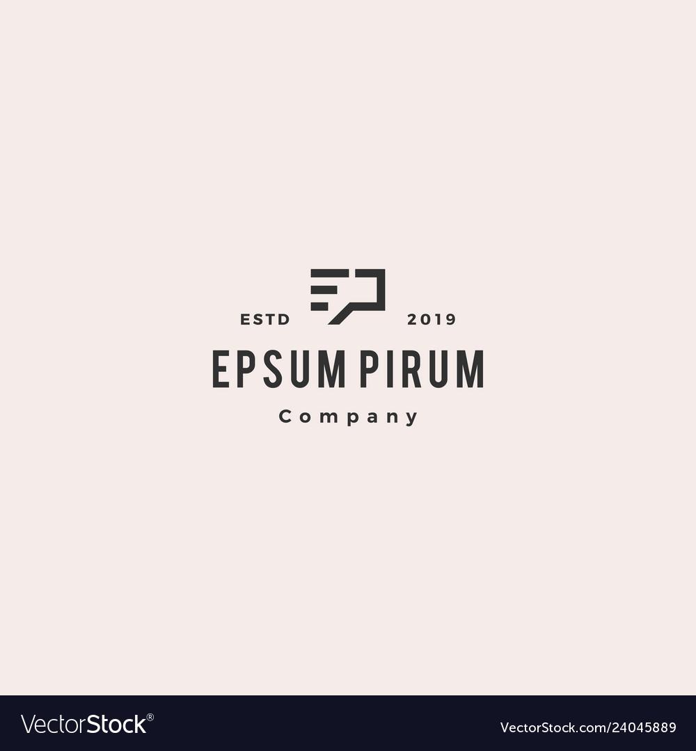 Ep letter monogram logo hipster vintage retro icon
