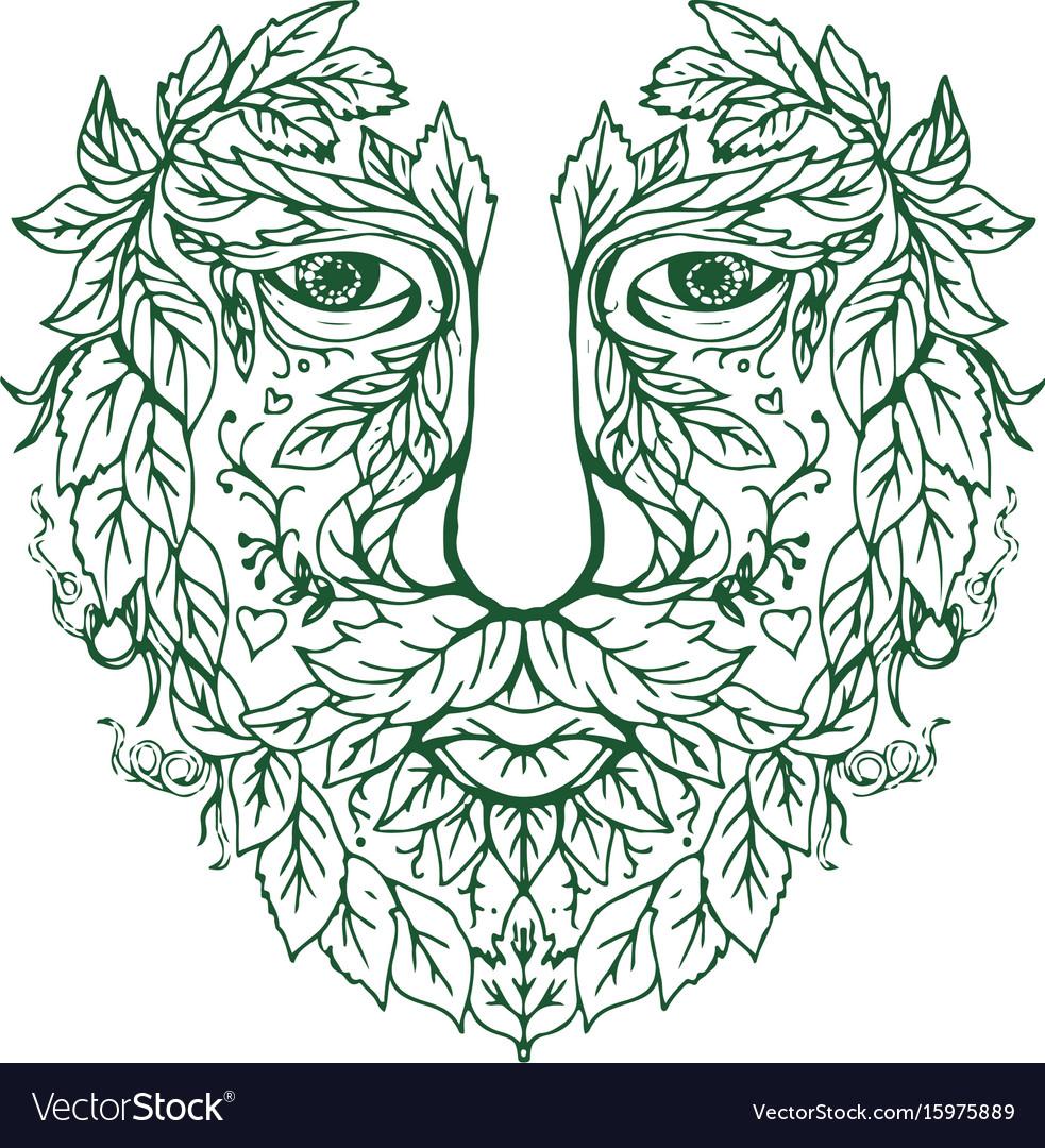 Green man head front mandala vector image