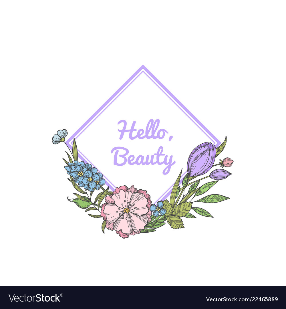 Hand drawn flowers wreath with place