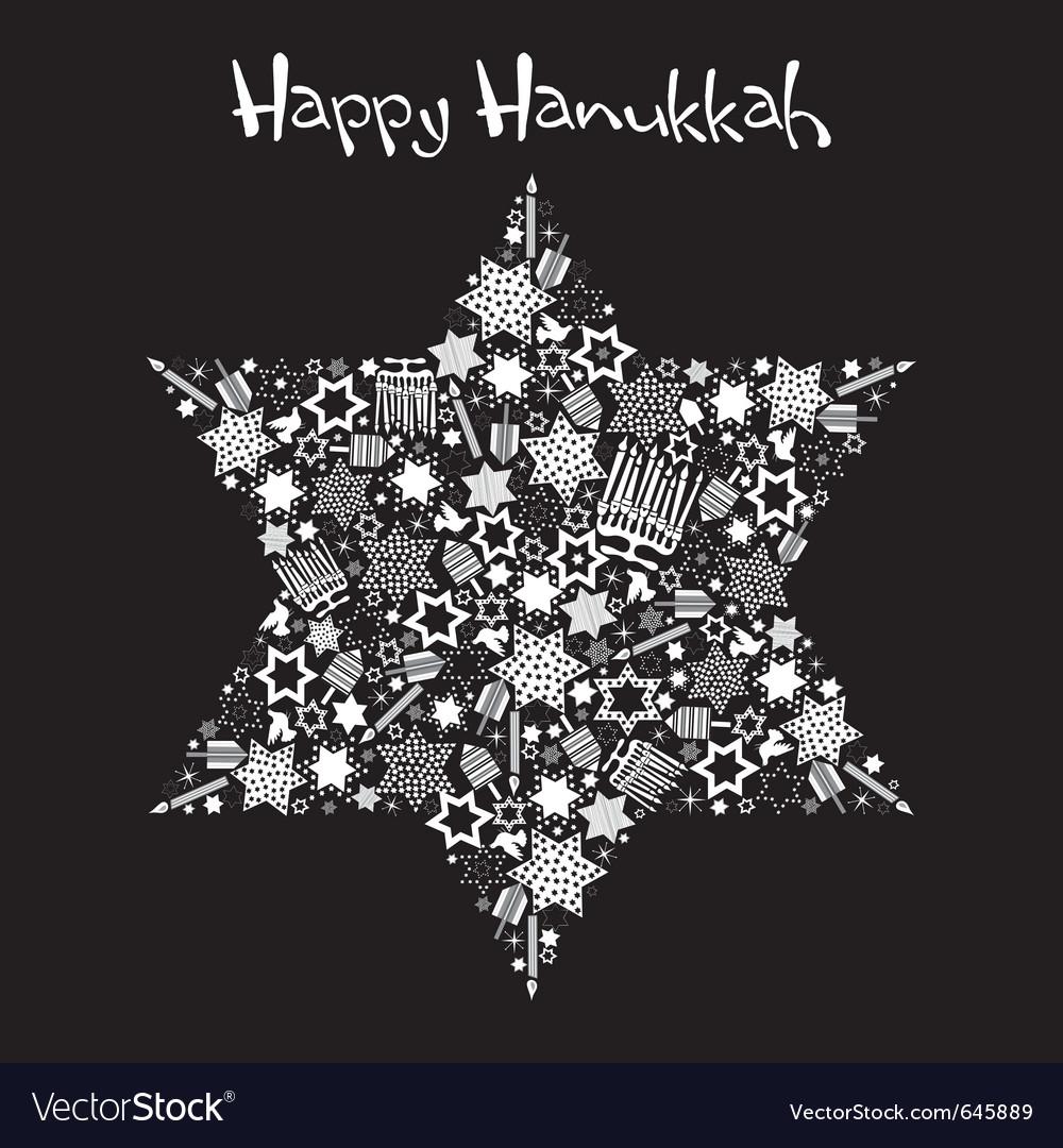 Happy hanukkah star of david vector image