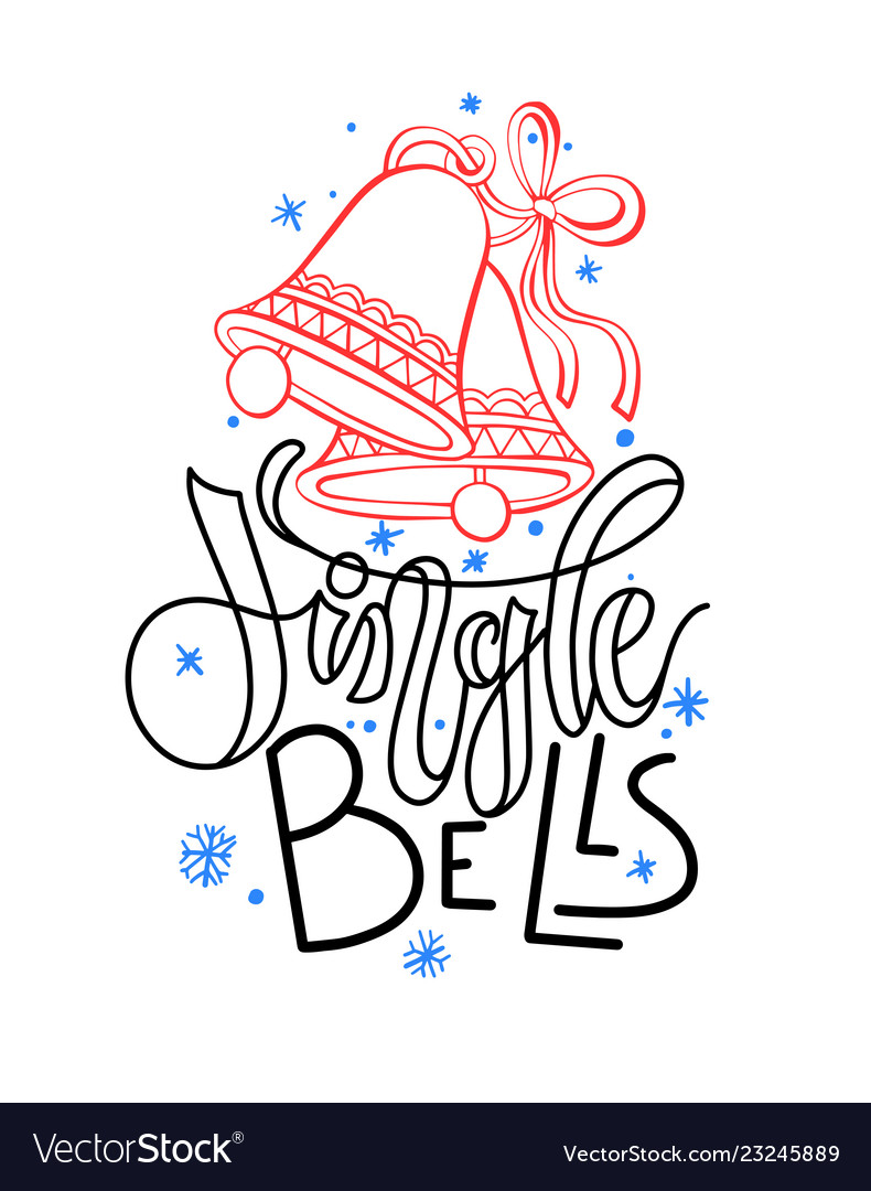 Jingle bells - holiday hand lettering poster