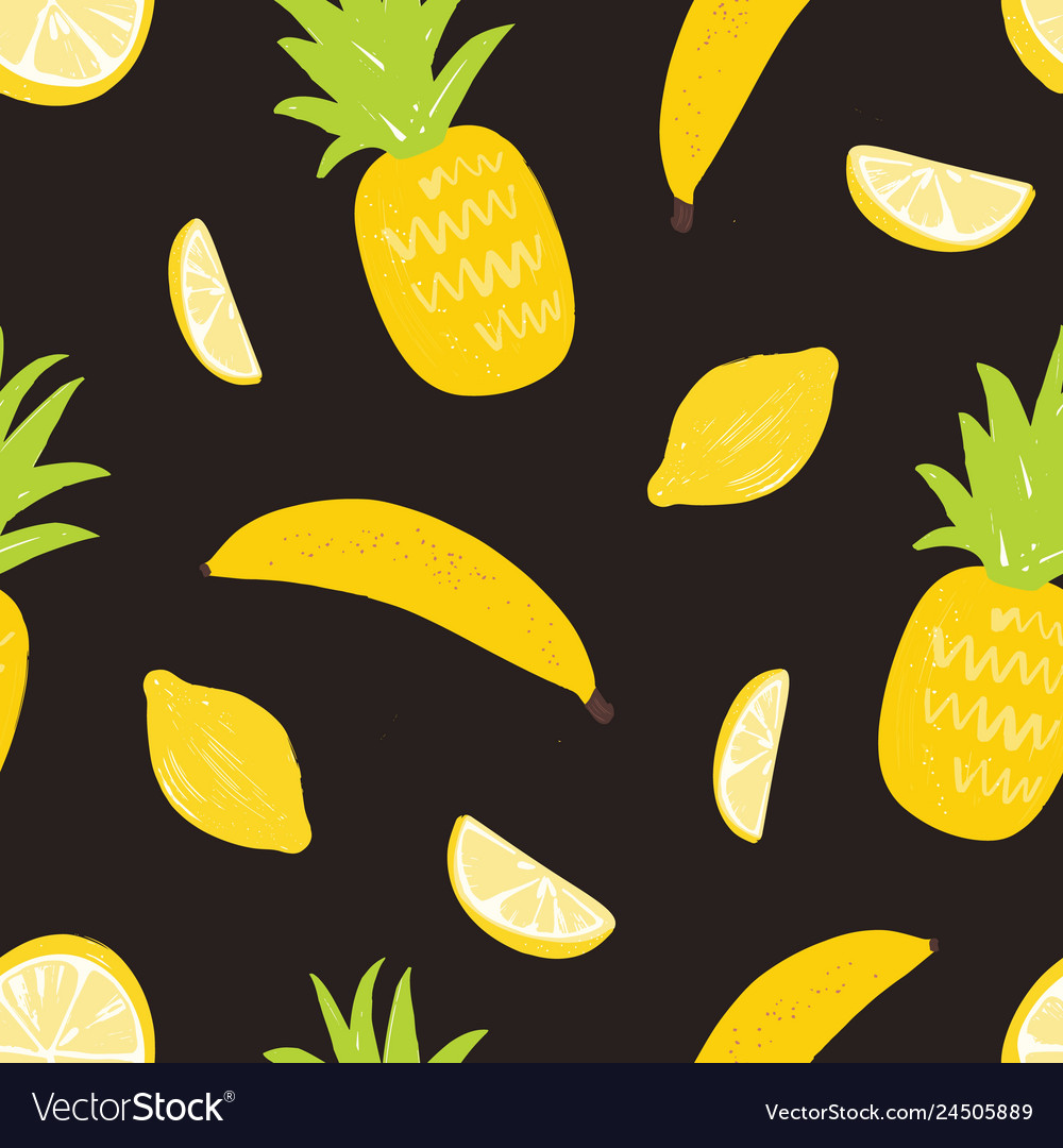 Seamless pattern with lemons pineapples and