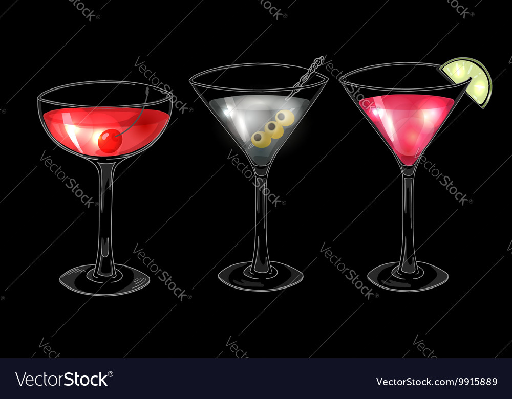 Set Hand Drawn Alcoholic Cocktails On Dark Vector Image