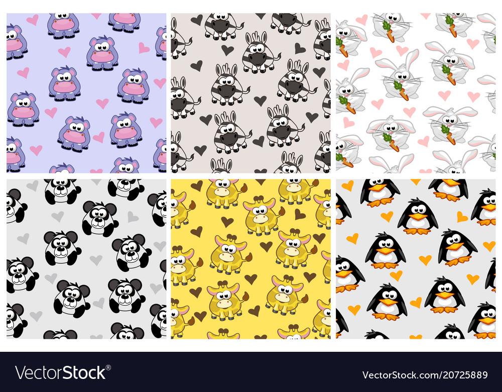 Set seamless pattern from animals cartoon
