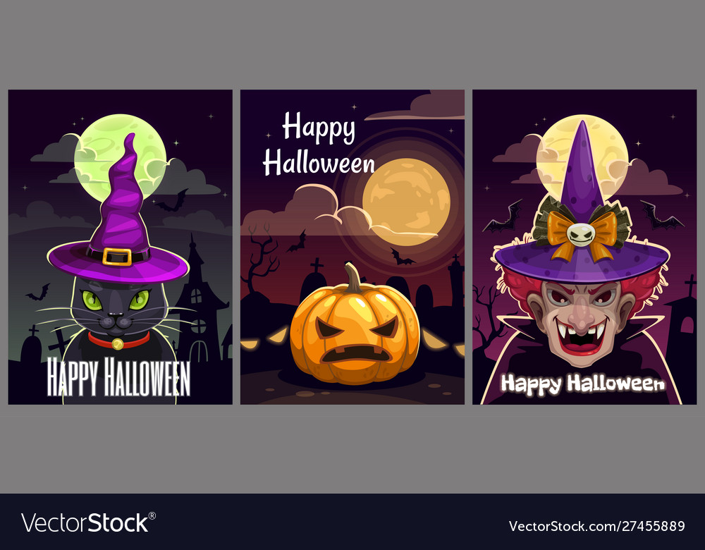Set three scary halloween posters helloween