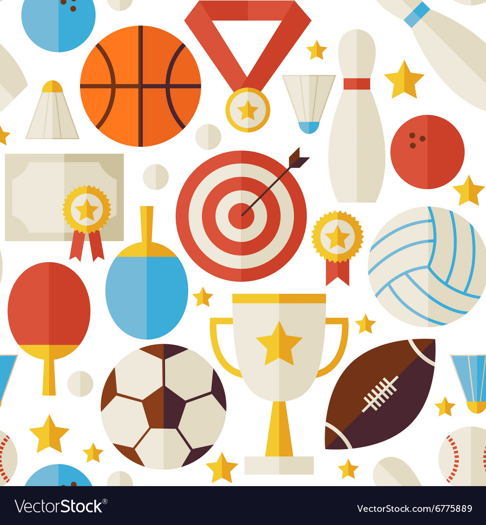 Sport Competition Recreation Flat White Seamless vector image