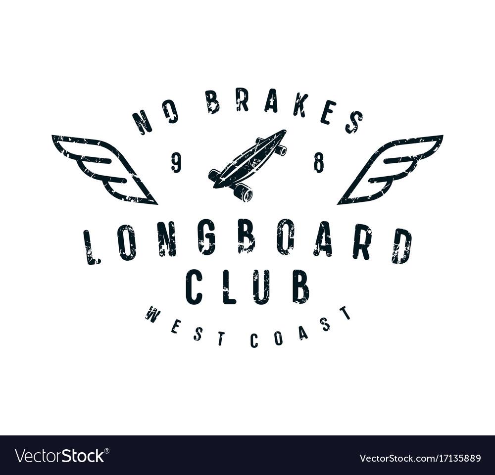 Typographic emblem longboard club