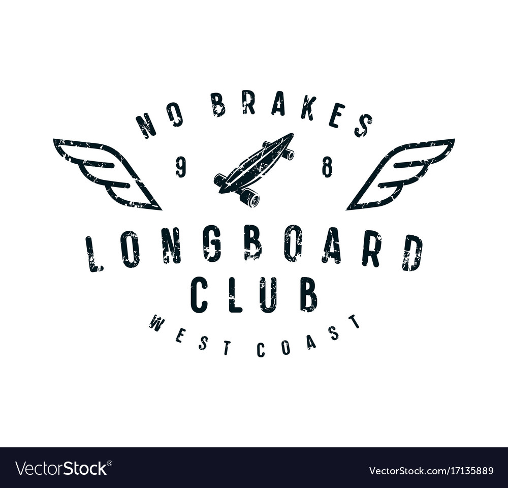 Typographic emblem of longboard club