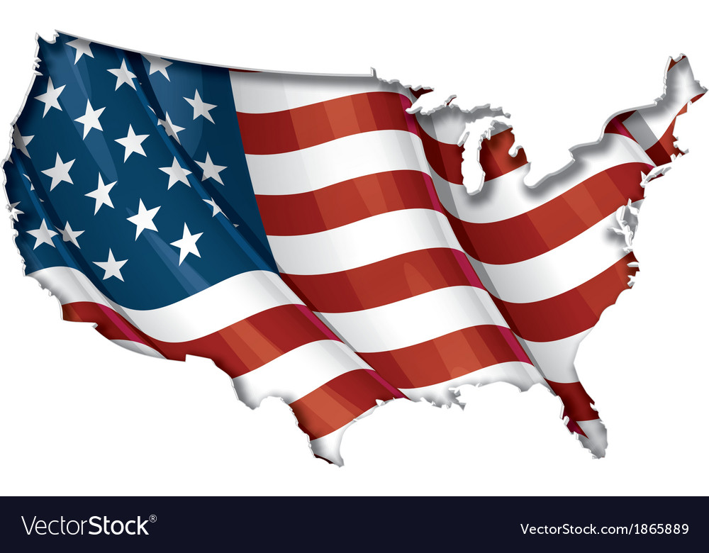 US Flag Map Inner Shadow