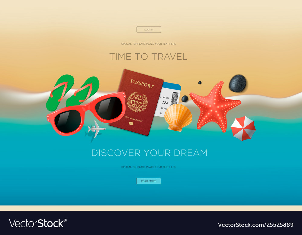 Web banner on theme travel vacation