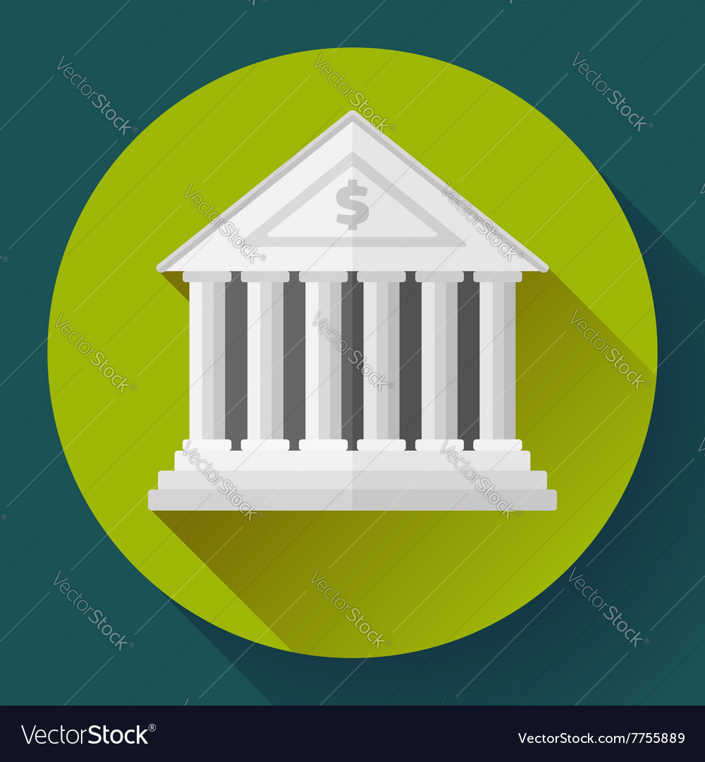 White bank building icon with long shadow Flat