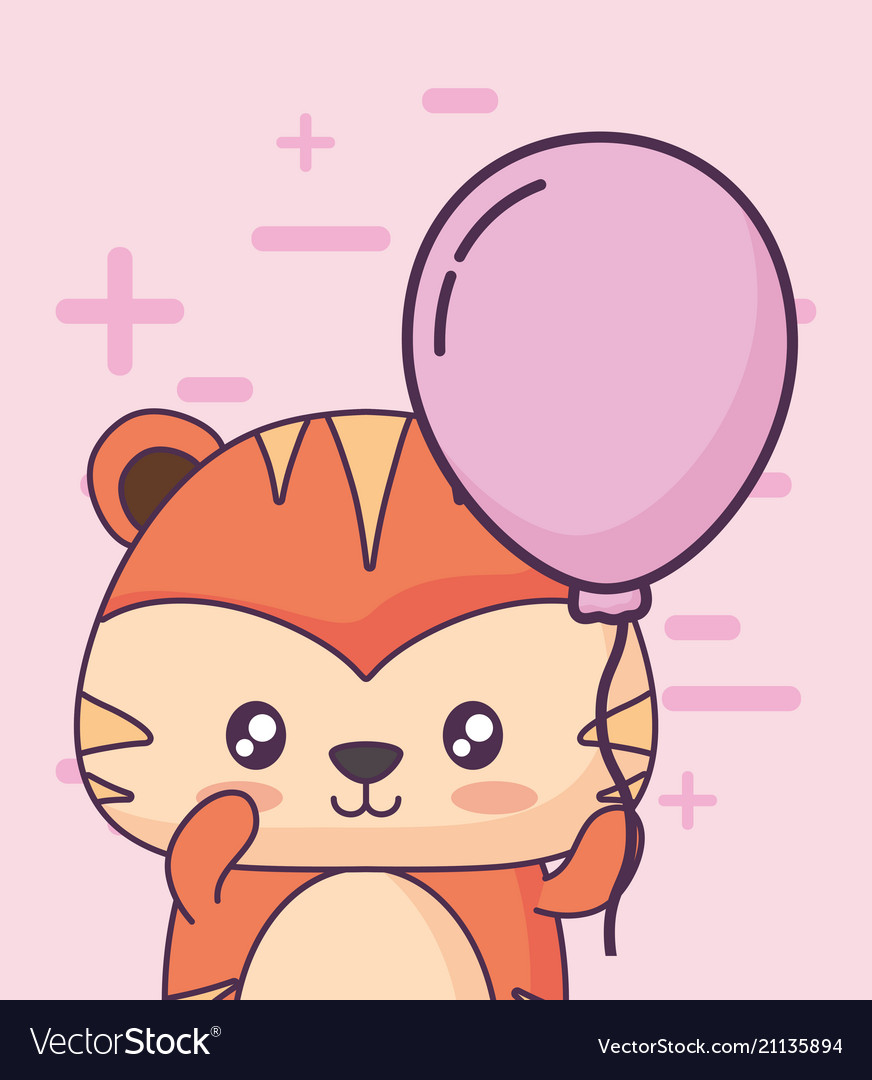 Birthday Card With Cute Tiger Kawaii Character Vector Image