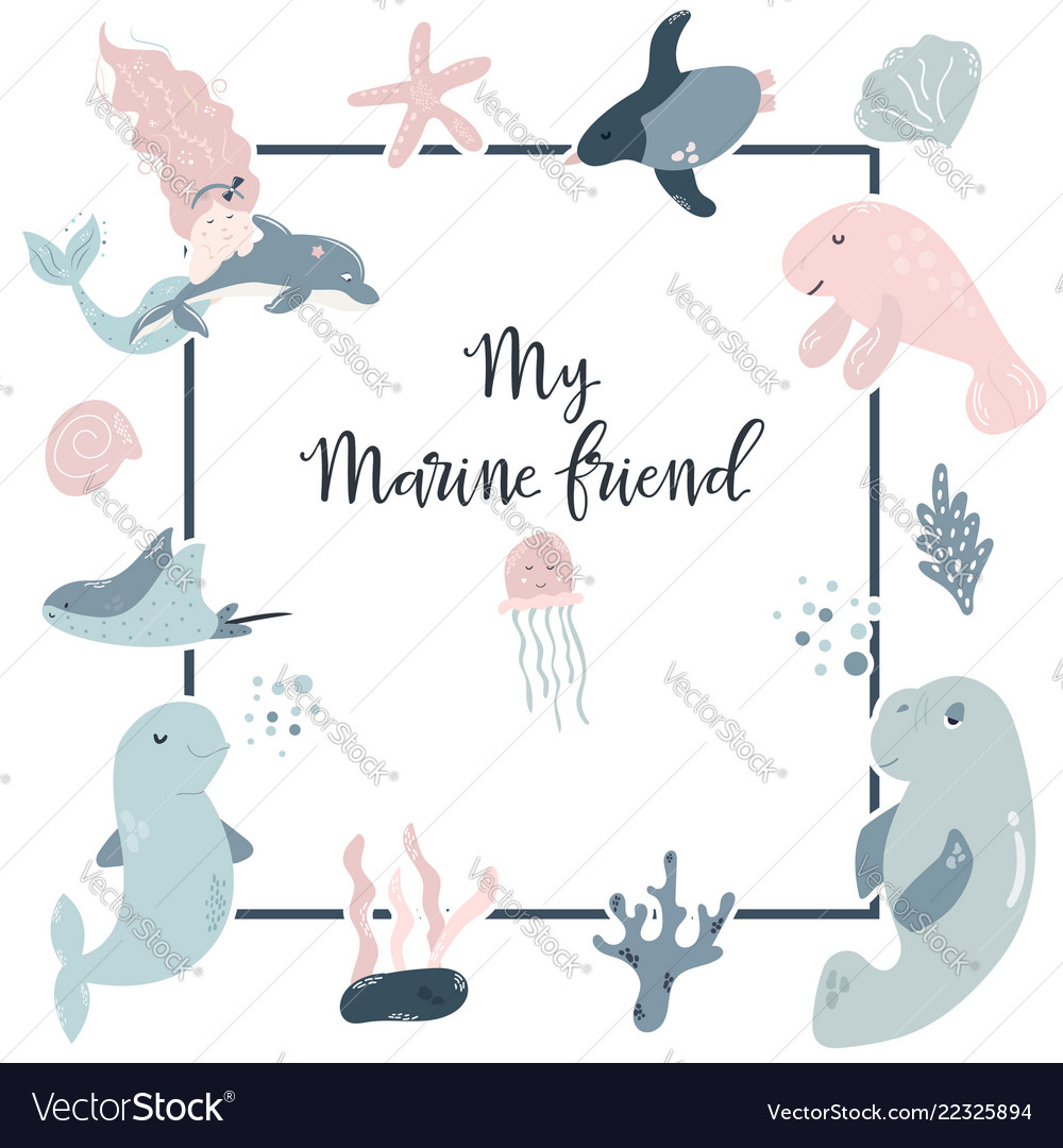 Birthday Invitation Design With Cute Sea Animals Vector Image