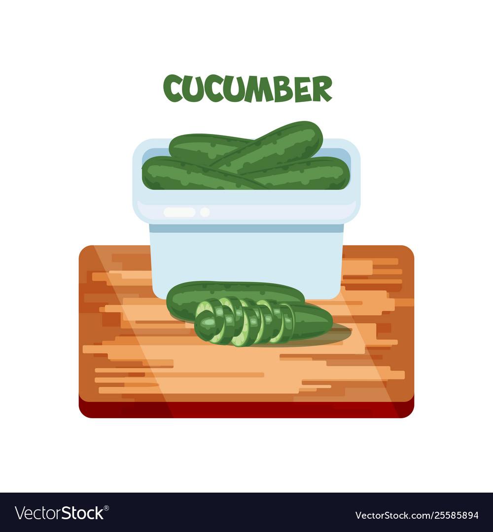 Cucumber flat design cartoon style on bord