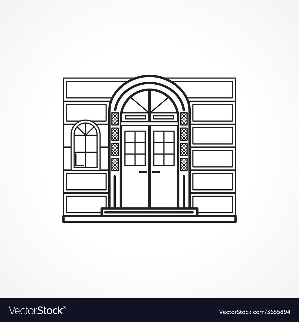 Facade arch door black line icon vector image