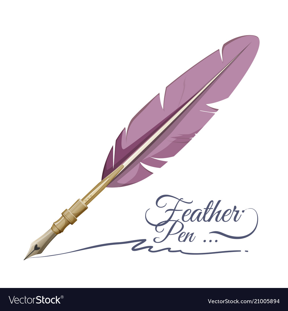 Feather pen writing implement made from feathers