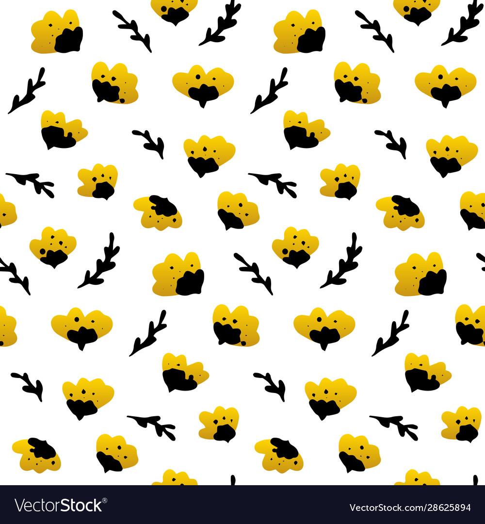 Gold black flower seamless pattern