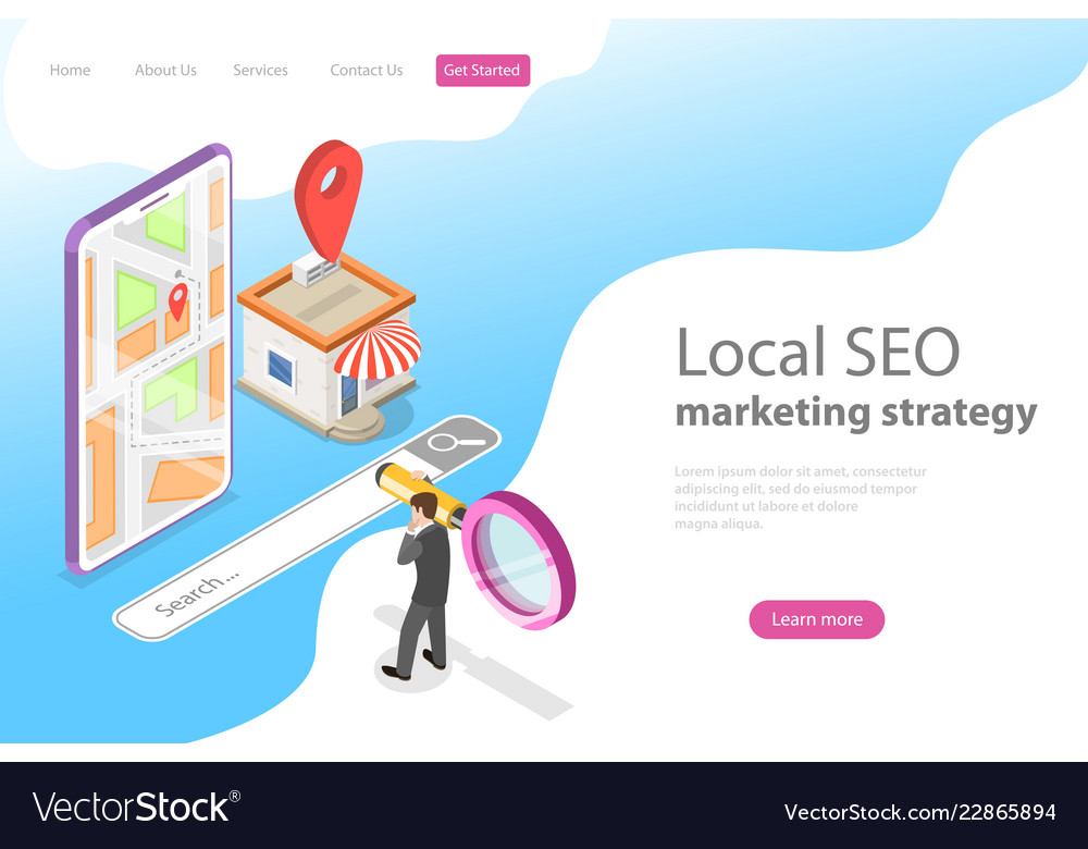 Isometric flat landing page for local seo