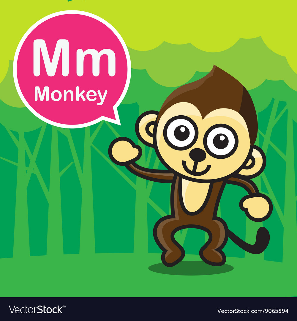 M Monkey color cartoon and alphabet for children