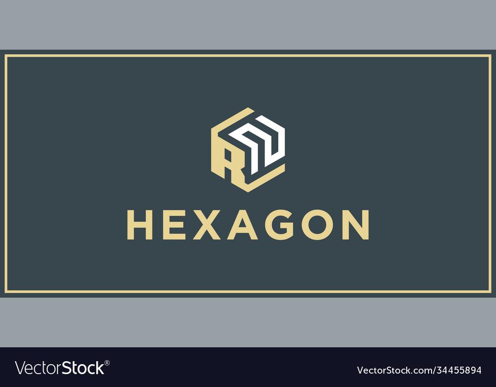 Rn hexagon logo design inspiration