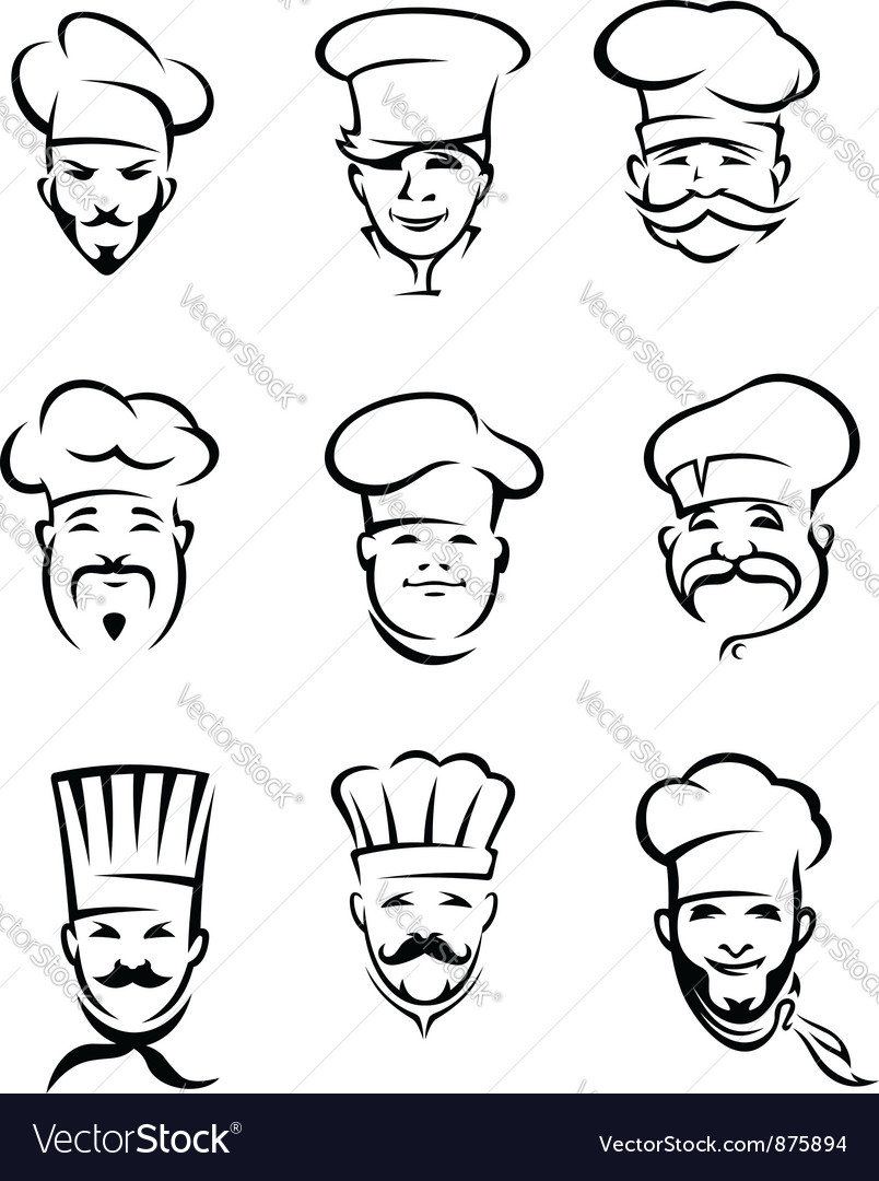 Set of different restaurant chefs