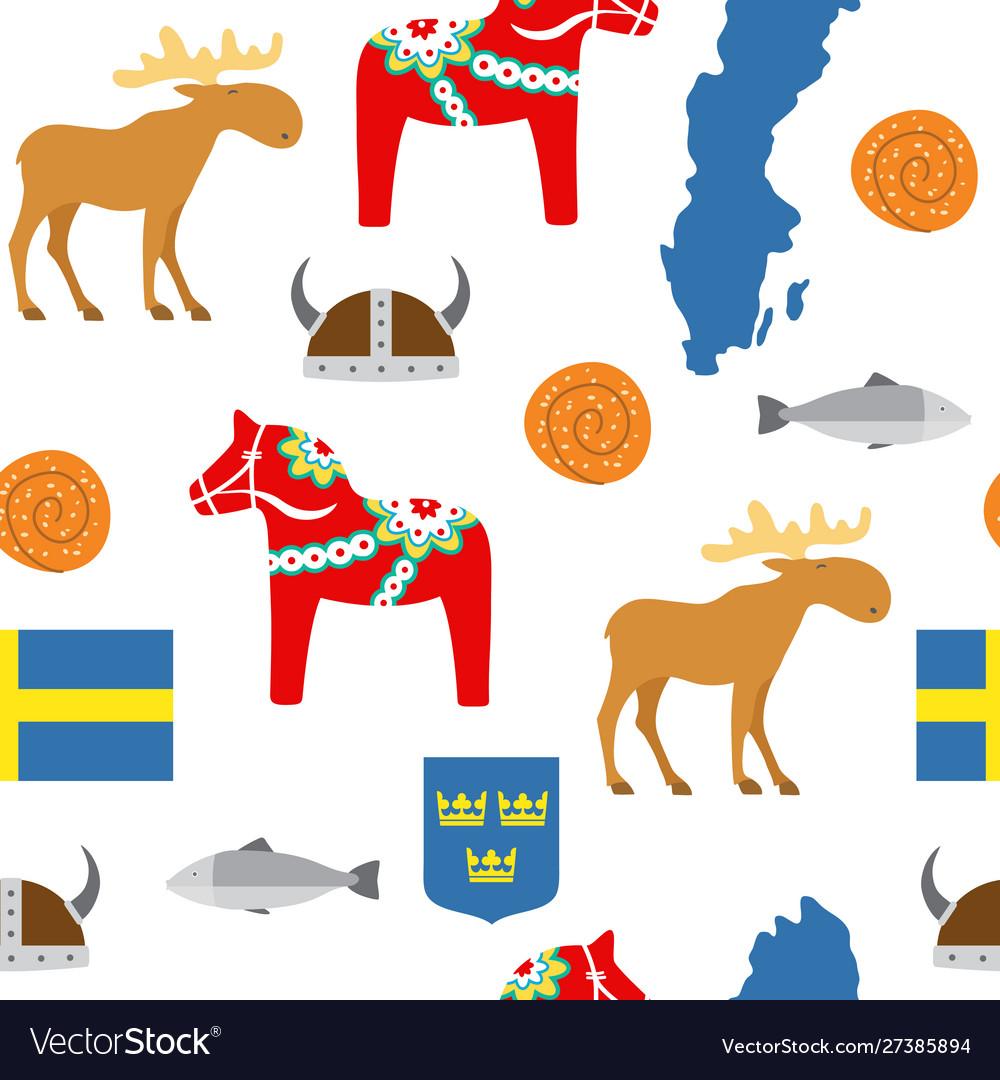 Sweden symbols seamless pattern