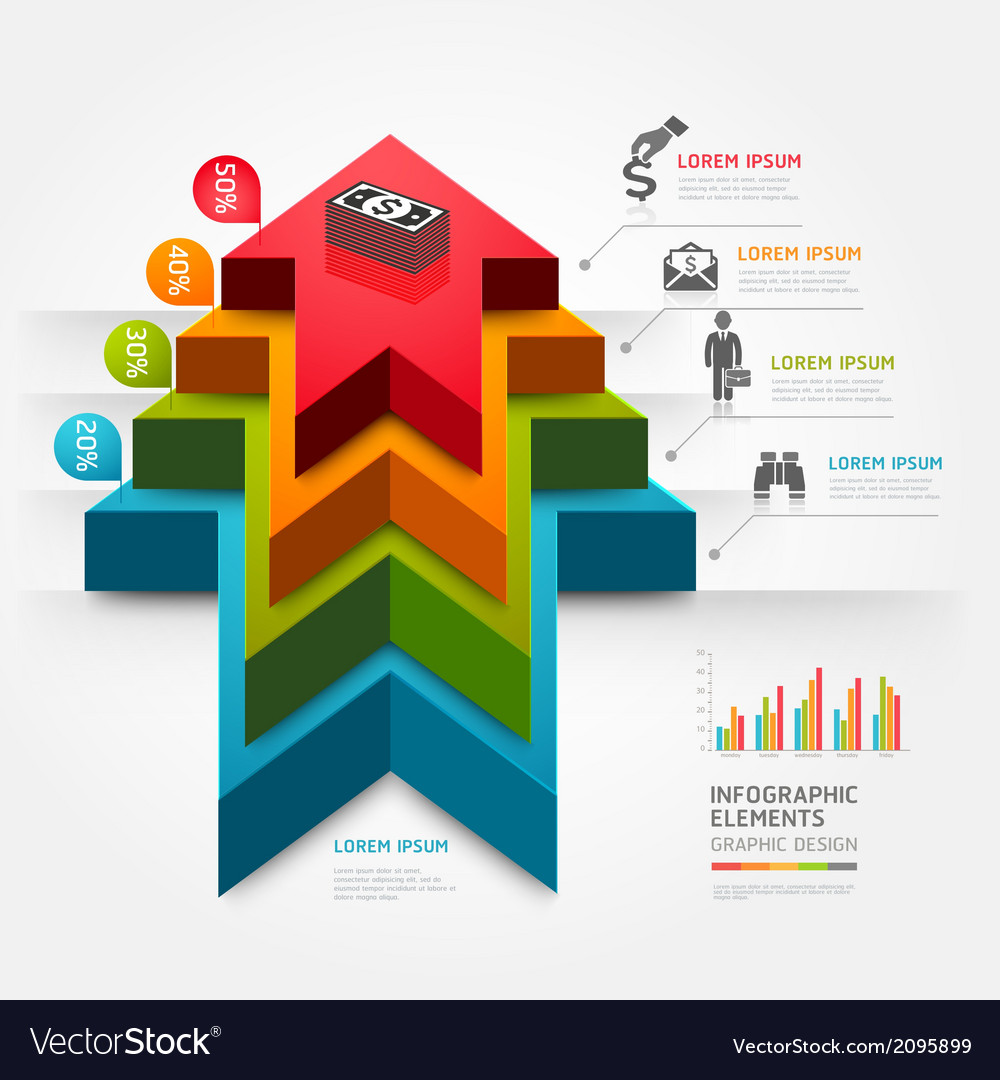 3d business arrow staircase diagram template vector image