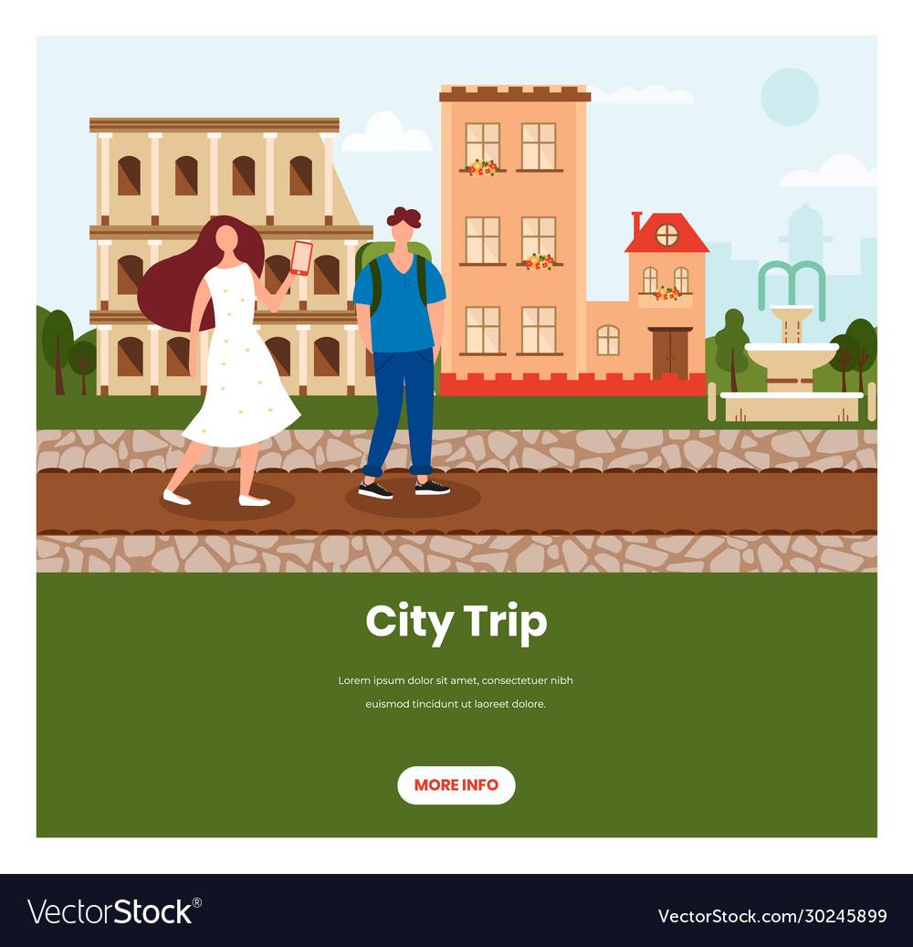 City trip web banner design template