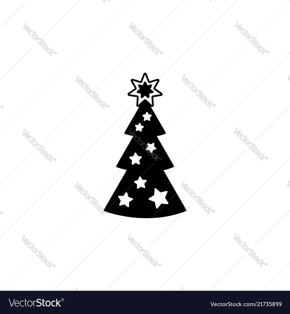 Fir tree line icon black on white
