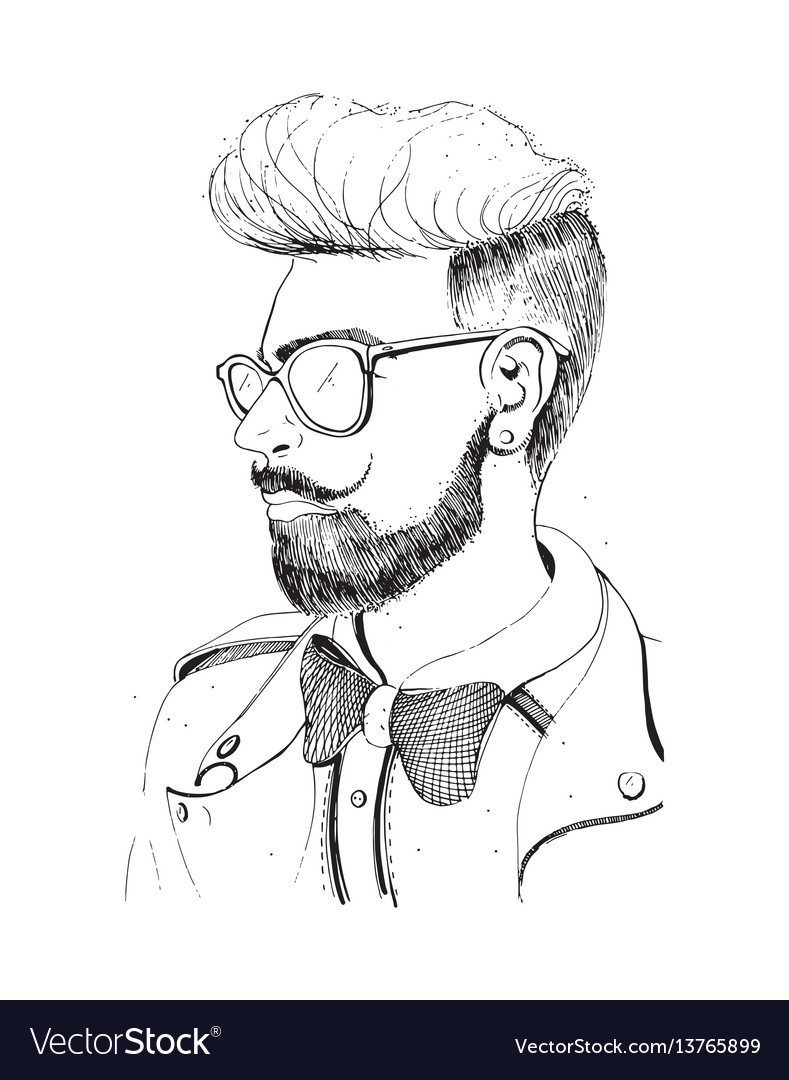 Hipster head with beard sunglasses silhouette