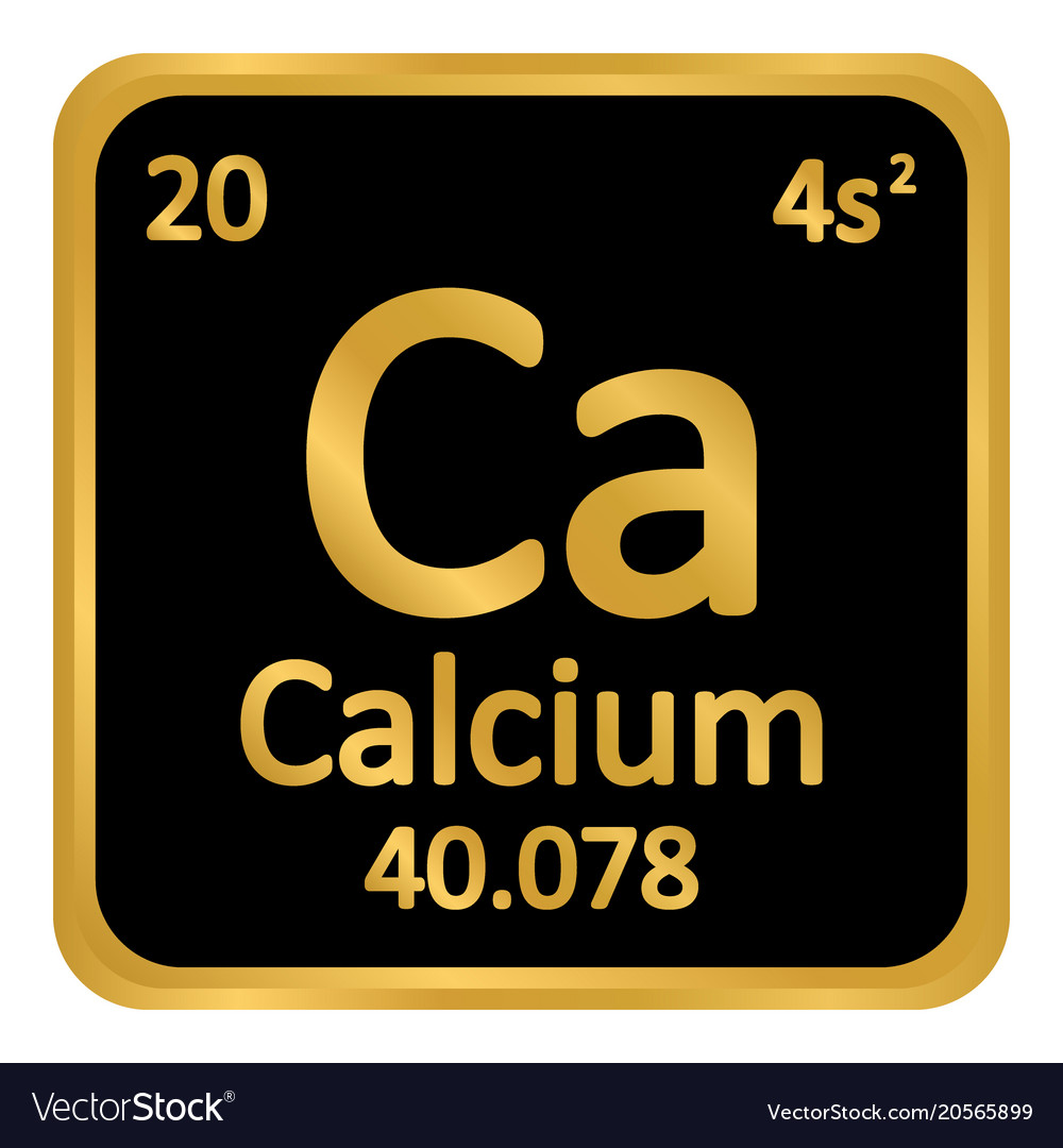 Periodic Table Element Calcium Icon Royalty Free Vector