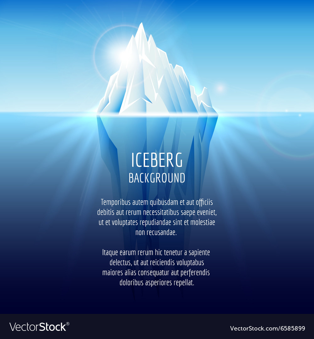 Realistic iceberg on water