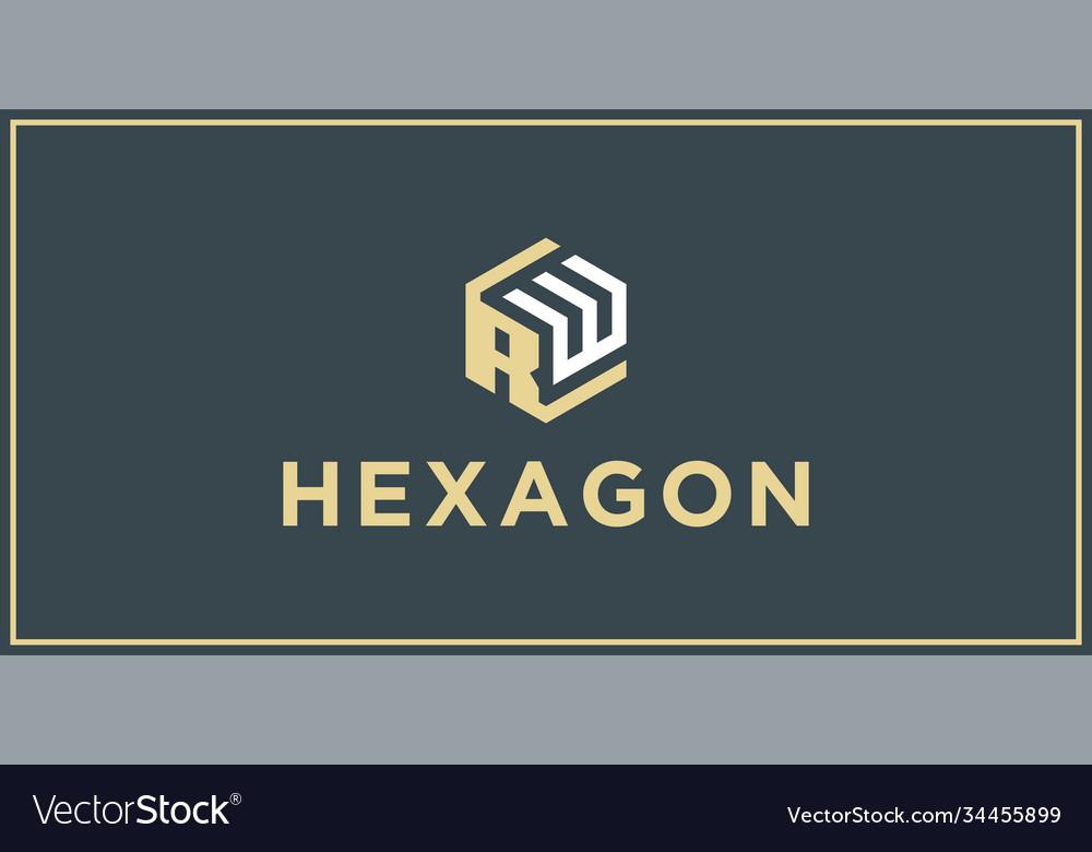 Rw hexagon logo design inspiration