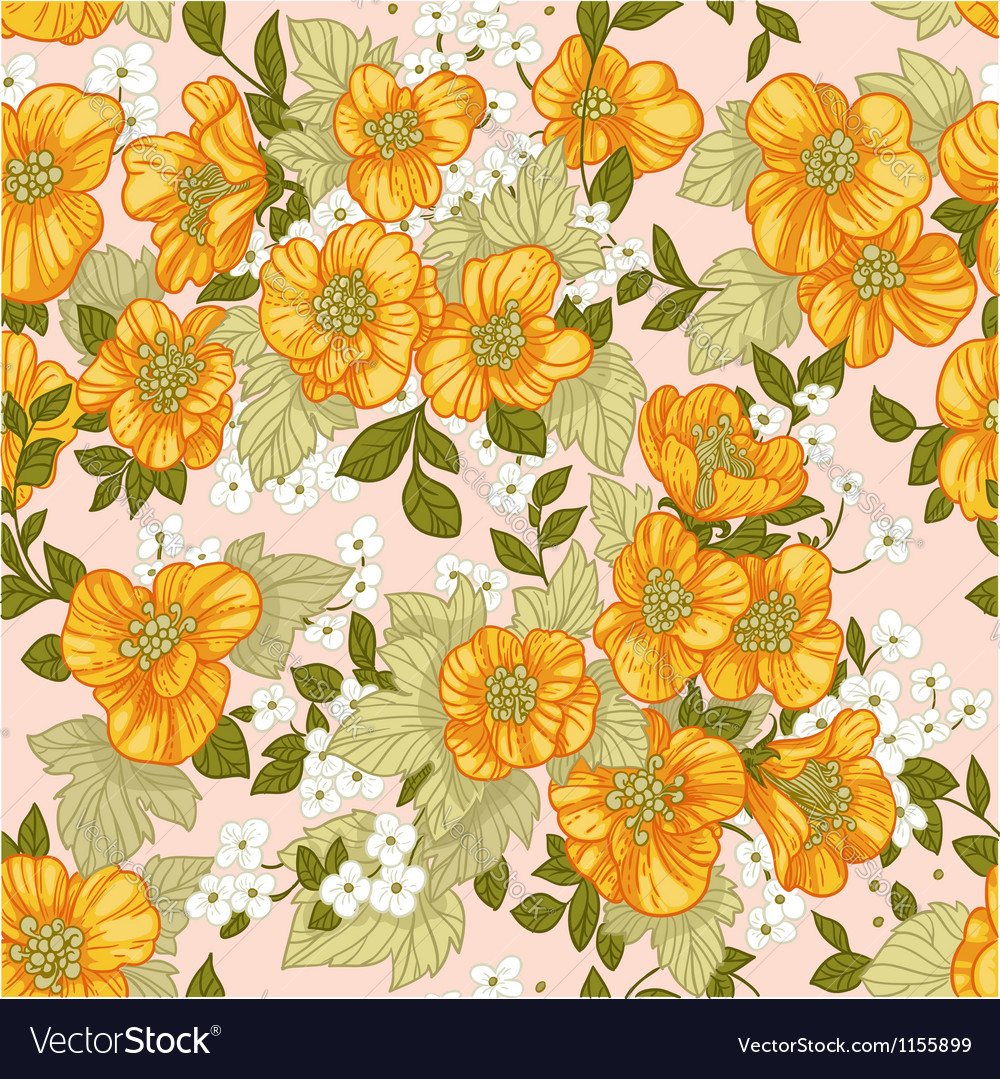 Seamless pattern of yellow wildflowers