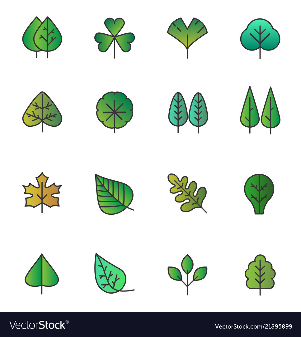 Simple tree leaves icons isolated green