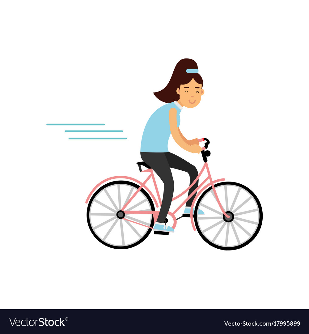 Teen girl cycling on bicycle girl doing sport