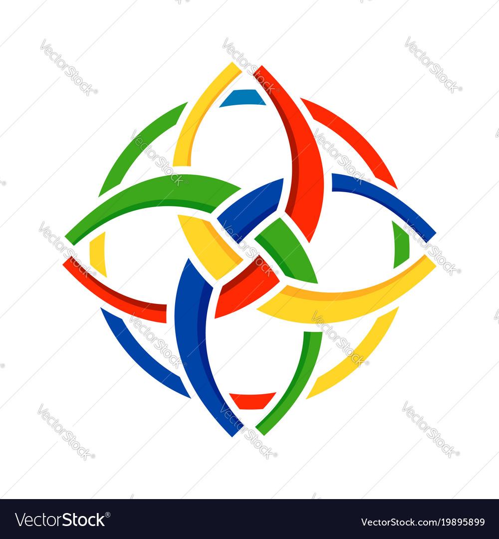 Unity In Diversity Circular Symbol Design Vector Image
