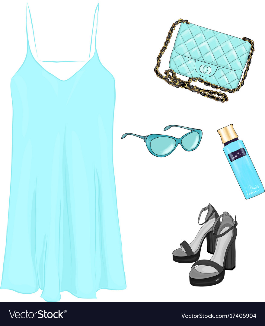 A set of summer outfit collection with accessories