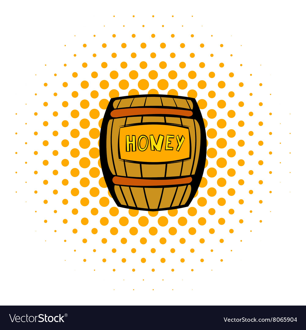 Barrel with honey icon comics style