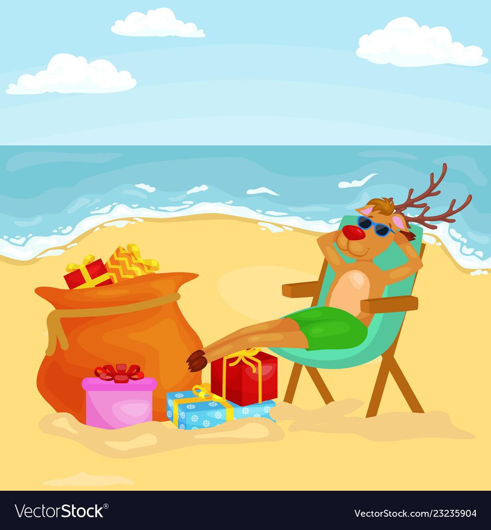 Cartoon reindeer relaxing on chair near bag full