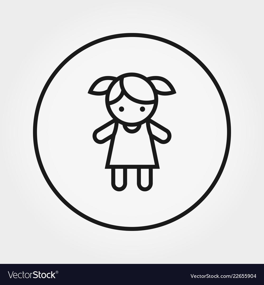 Doll toy universal icon editable thin