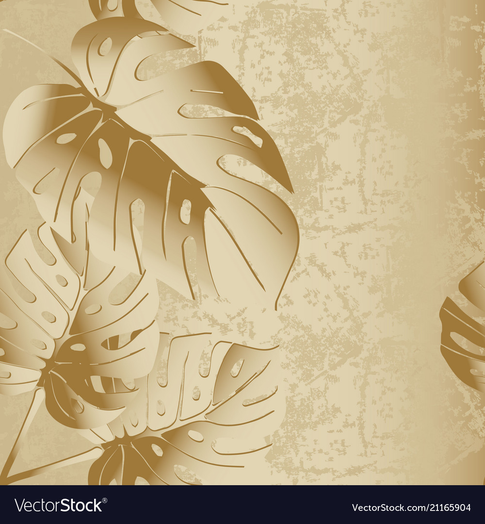 Grunge textured 3d palm leaves seamless