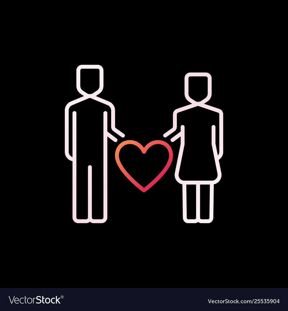 Man and woman with heart colorful icon or