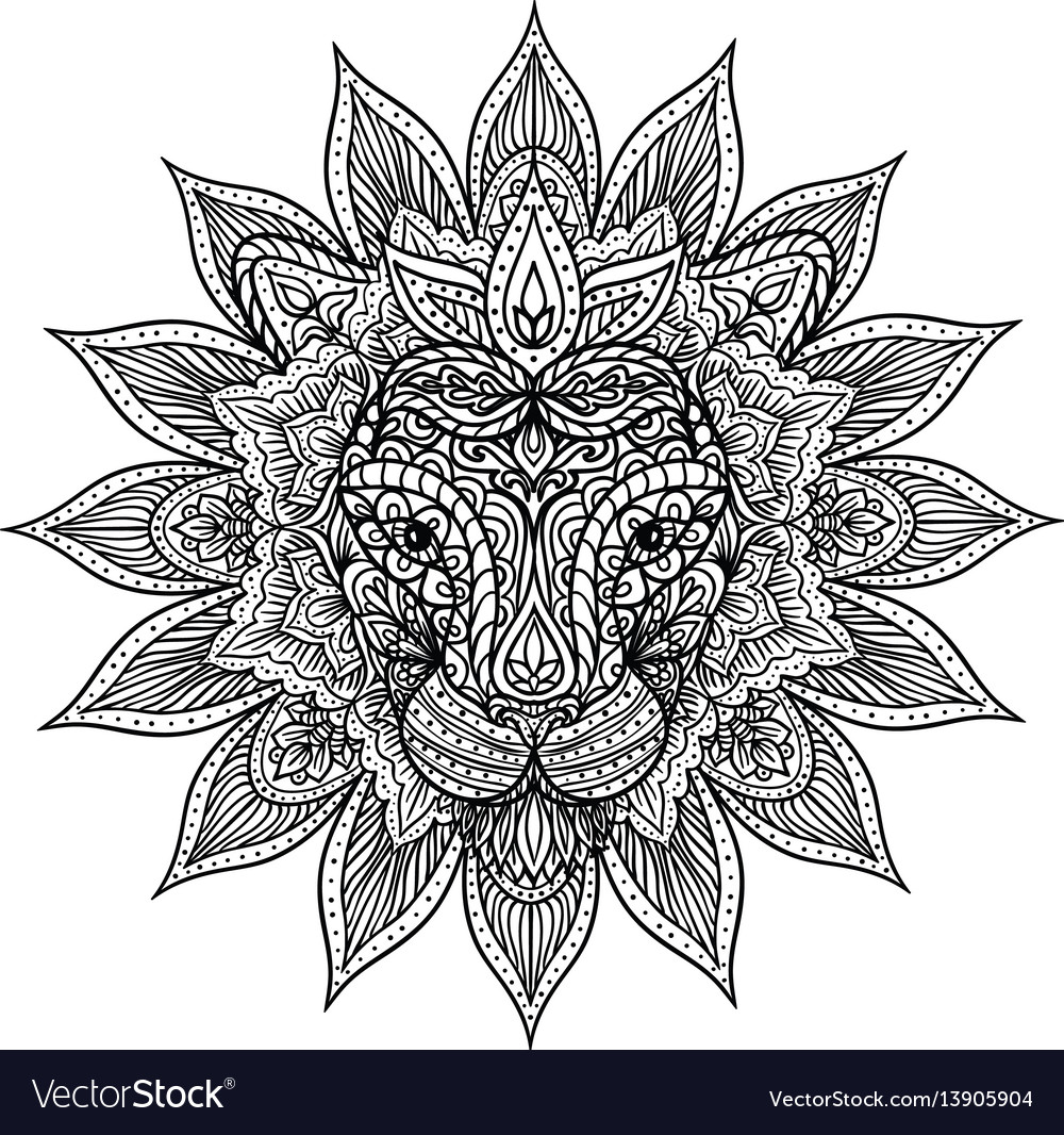 Outline lion mandala