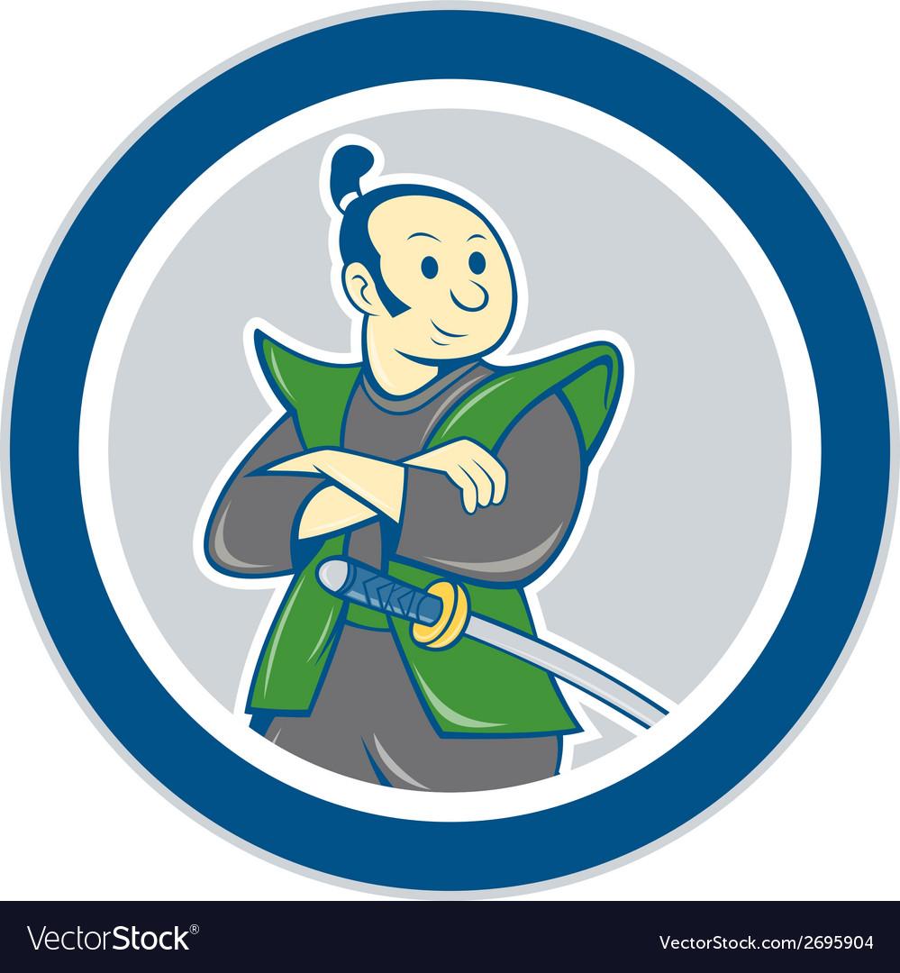 Samurai Warrior Arms Folded Circle Cartoon vector image