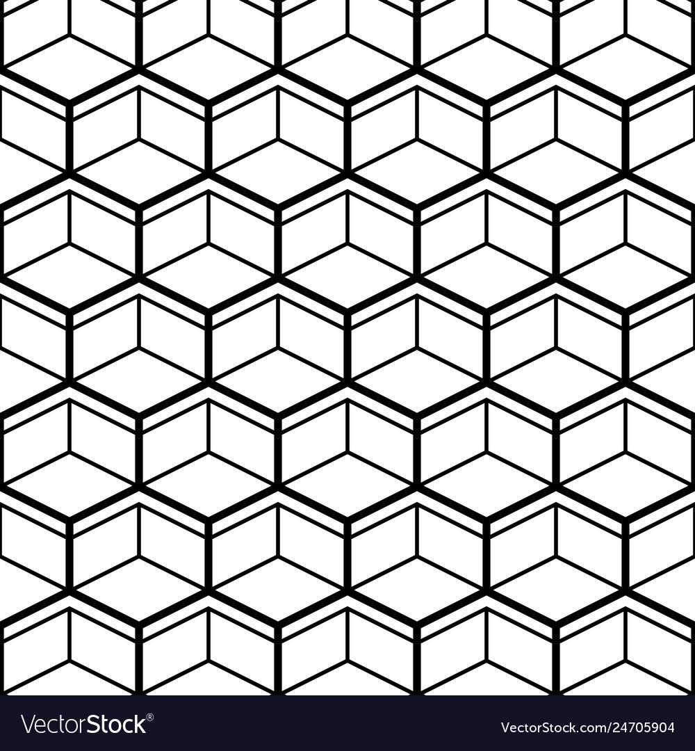 Seamless pattern with black line hexagons