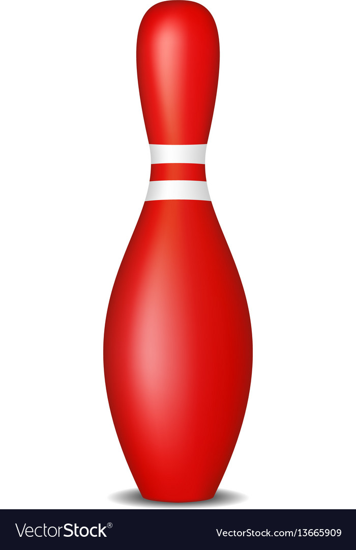Bowling pin in red design with white stripes
