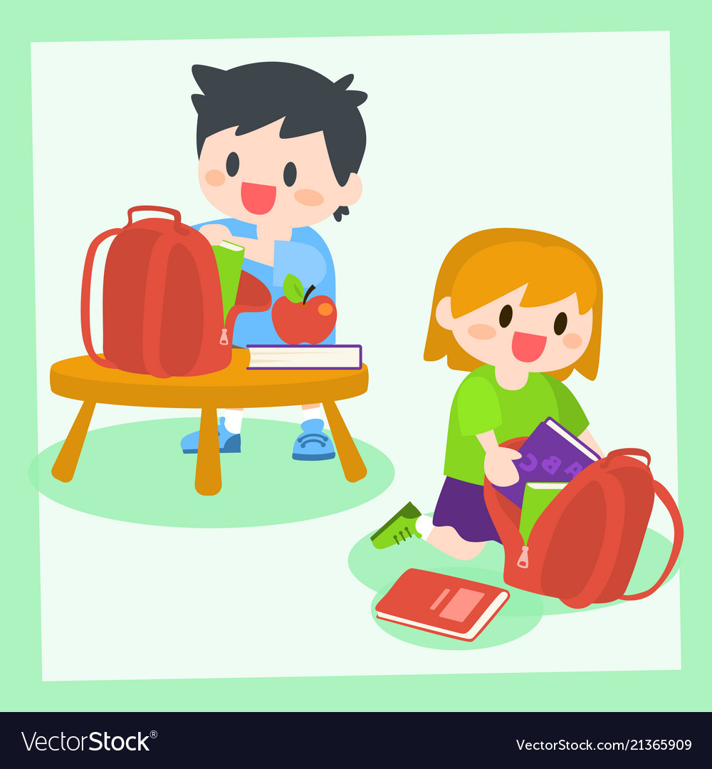 Children boy and girl getting ready for school