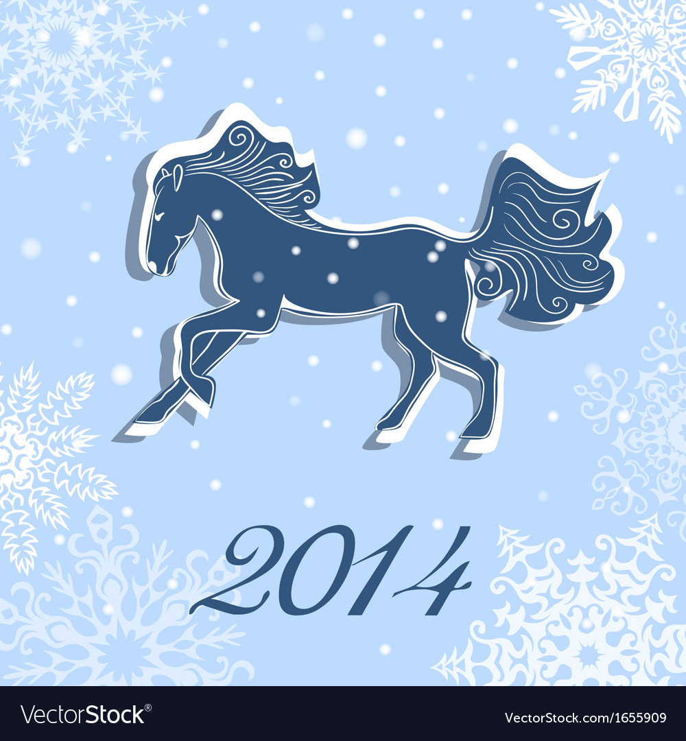 Christmas and New Year card with a horse