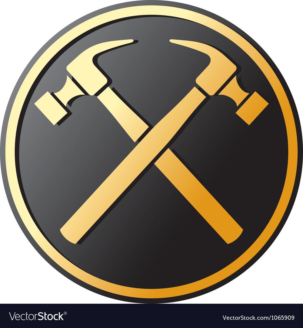Crossed Hammer Symbol Royalty Free Vector Image